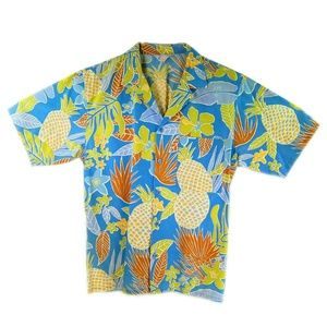 Vtg Blue Islander Hawaiian Men Shirt Pineapples Lg